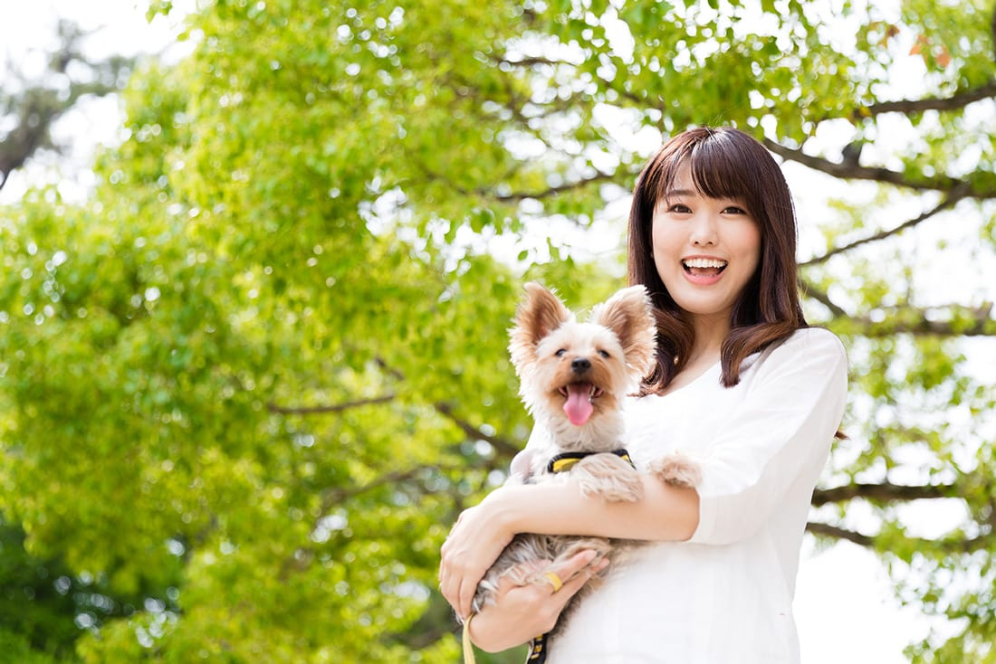 A happy woman holding a small happy dog.