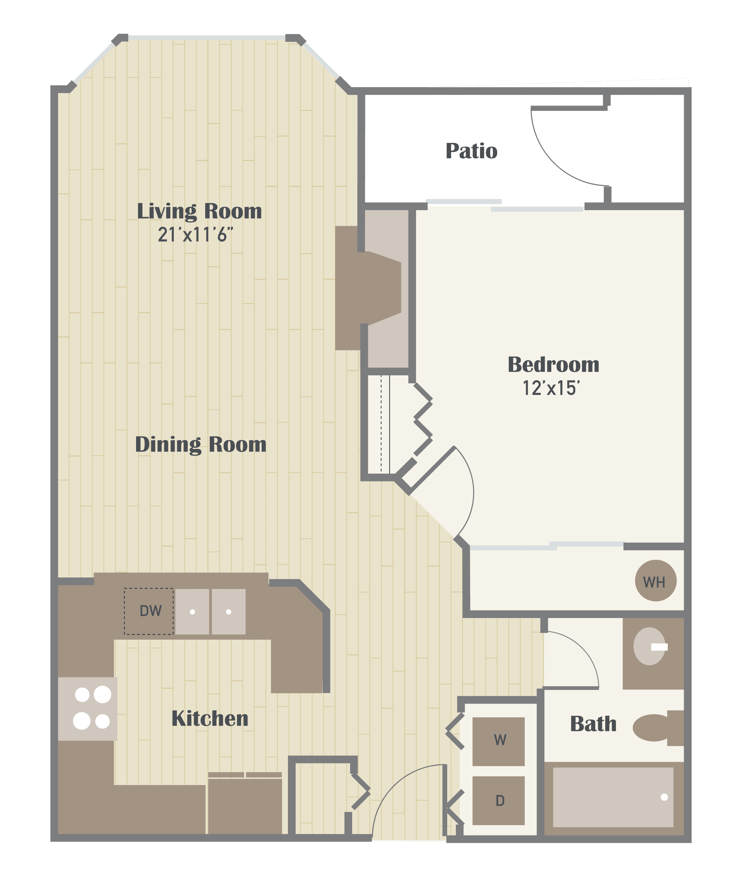 Haller Post Apartments one bedroom floor plan