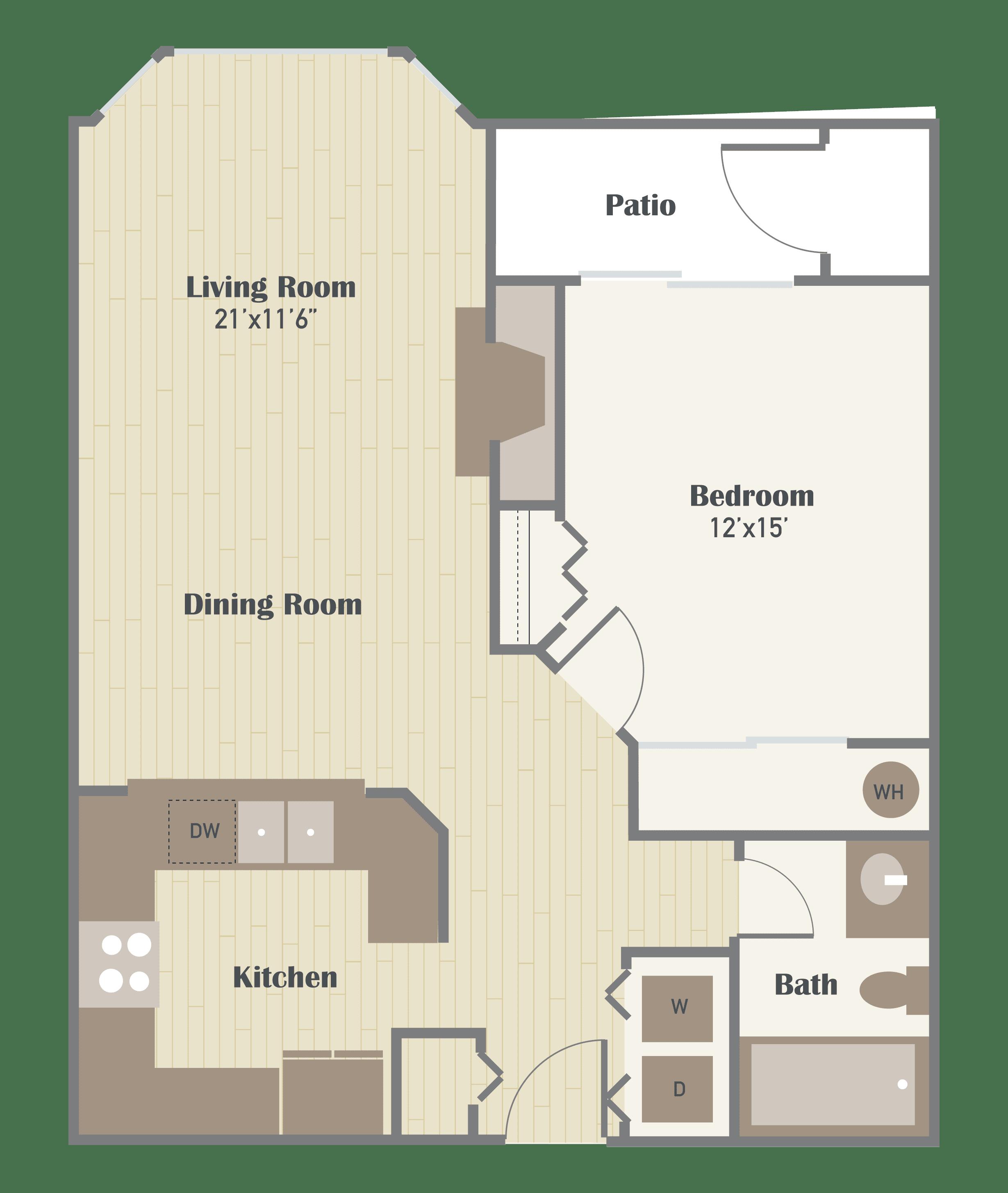 Haller Post Apartments one bedroom floor plan