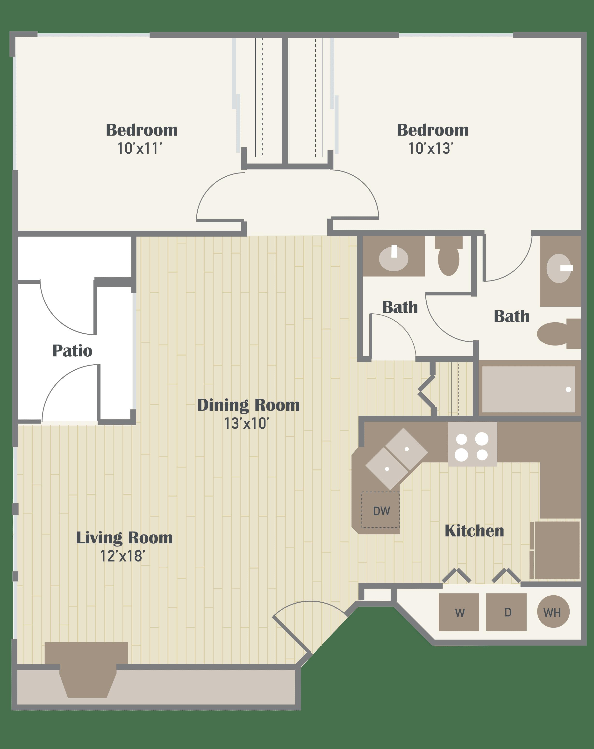 Haller Post two bedroom floor plan
