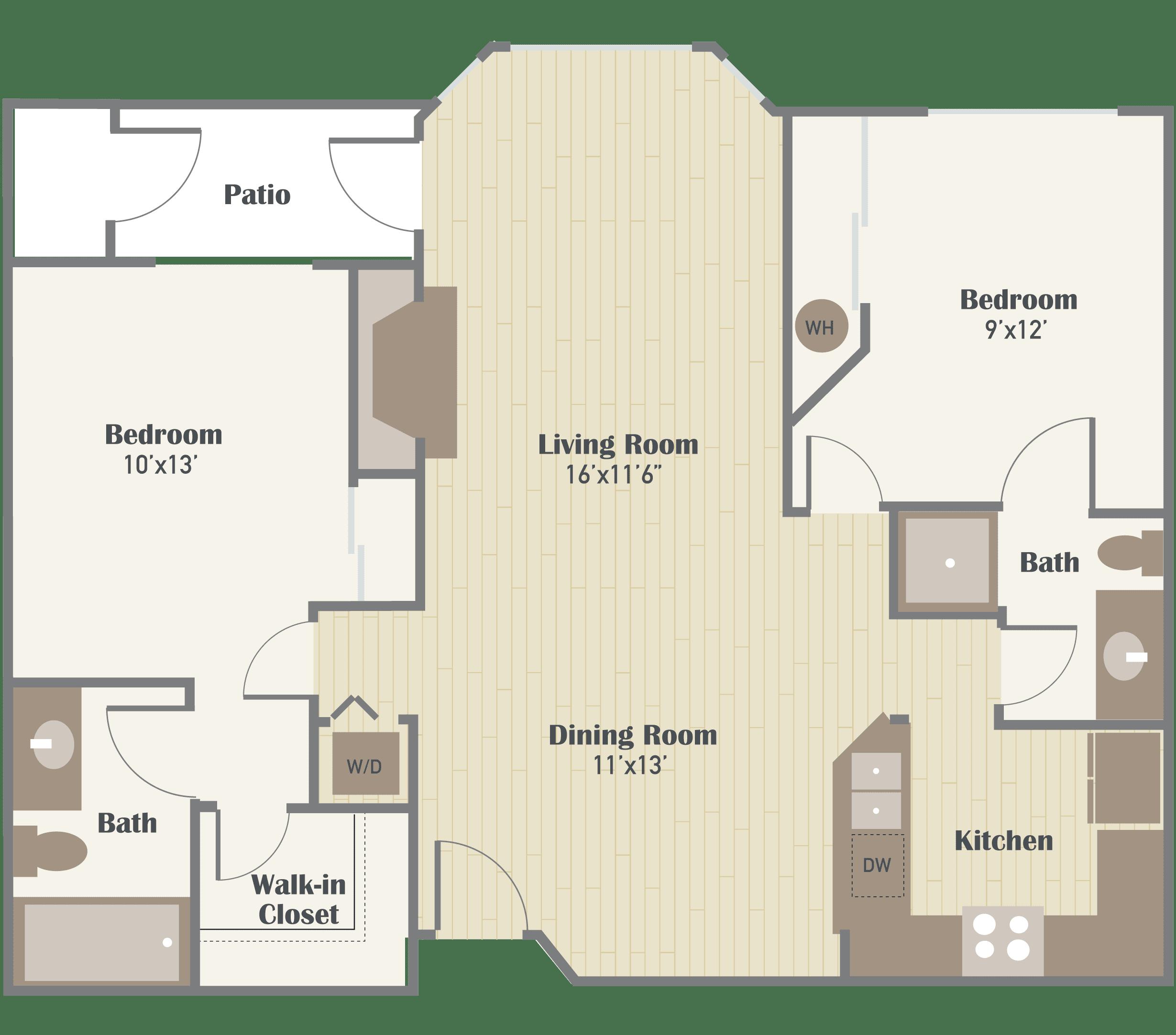 Haller Post Apartments two bedroom floor plan