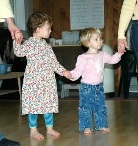 two toddlers holding hands in Creative Dance Studio toddler dance class Seattle