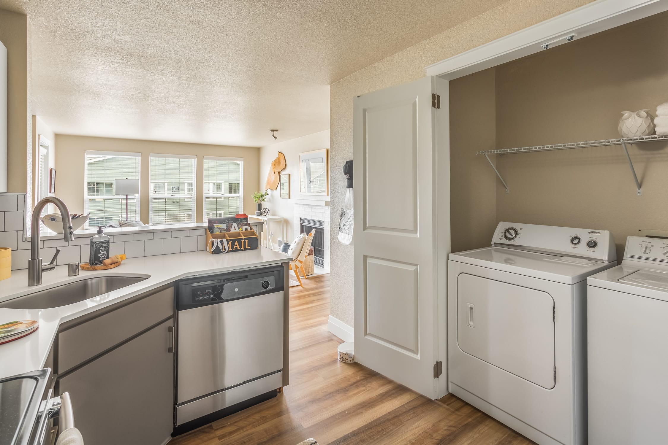 Haller Post Apartments kitchen and laundry room
