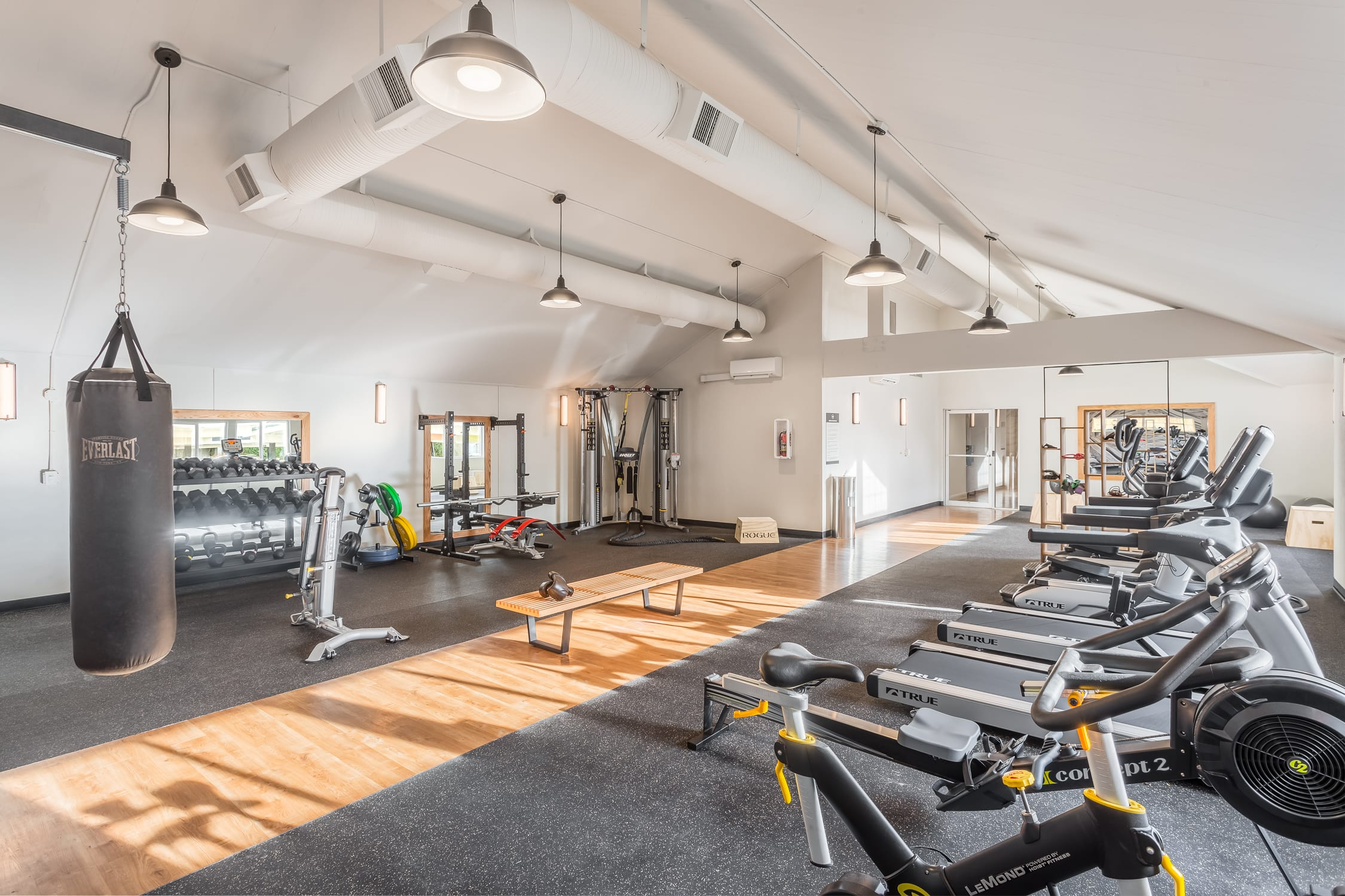 The workout center at Haller Post Apartments.