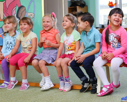 kindergarten class in colorful clothes