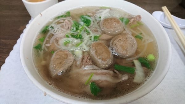pho with Vietnamese meatballs and rice noodles
