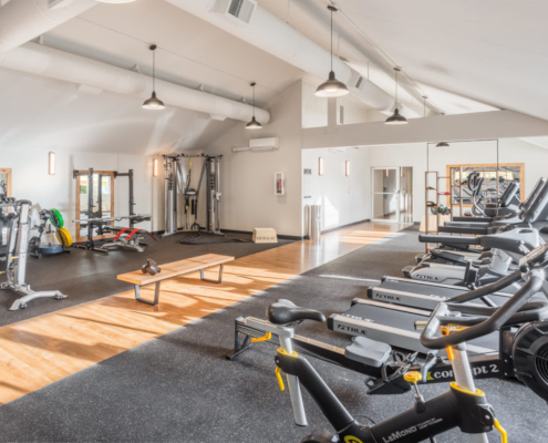 large gym at Haller Post Apartments