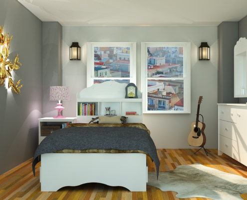 bedroom layout with guitar by bed, artistic lights like lanterns and glowing leaves