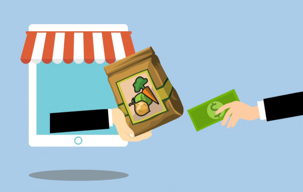 online grocery shopping, hand reaching out of computer to deliver paper bag of groceries